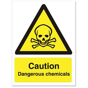 Image of Stewart Superior Caution Dangerous Chemicals Sign Self Adhesive Vinyl 150x200mm Ref WO142SAV