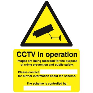 Image of Stewart Superior Caution CCTV Camera Sign Self Adhesive Vinyl 150x200mm Ref WO143SAV