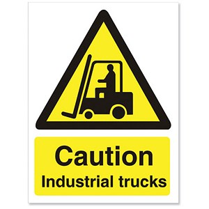 Image of Stewart Superior Caution Industrial Trucks Sign Self Adhesive PVC 150x200mm Ref WO135PVC