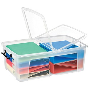 Image of Strata Smart Box / Clip-on Folding Lid / Carry Handles / Clear / 50 Litre