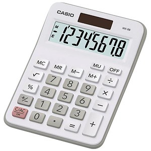 Image of Casio Calculator Desktop Battery/Solar-powered 8 Digit 4 Key Memory 107x47x29mm White Ref MX-8B-WE