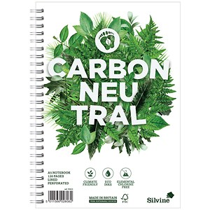 Image of Silvine Carbon Neutral Notebook / A5 / Perforated / 2 Holes / 120 Pages / Pack of 5