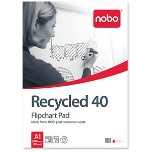 Image of Nobo Recycled Flipchart Pad / Perforated / 40 Sheets / A1 / Plain / Pack of 5