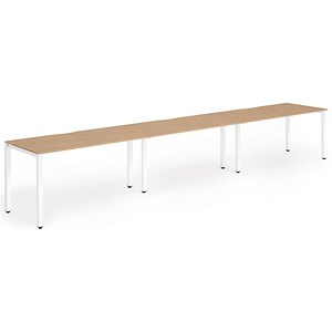 Image of Trexus 3 Person Bench Desk / 3 x 1200mm (800mm Deep) / White Frame / Oak