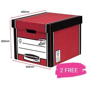 Image of Fellowes Premium 726 Tall Bankers Box / Red & White / 12 for the price of 10