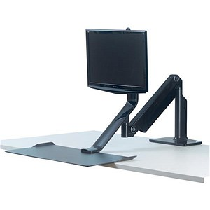 Image of Fellowes Extend Sit-Stand Work Platform Single Monitor Attachment 1016mm Radius Black Ref 9701
