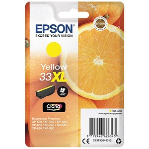 Image of Epson T33XL Inkjet Cartridge Capacity 8.9ml Yellow Ref C13T33644010