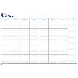 Image of Mark-it Month Planner / Laminated with Notes Column / W900xH600mm