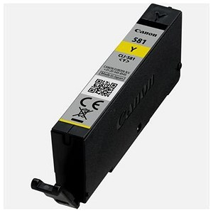 Image of Canon CLI-581 Inkjet Cartridge Page Life 259pp Yellow Ref 2105C001