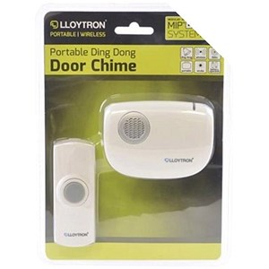 Image of Cordless Door Chime with MIP System 150m Range Includes 2xAA Batteries White