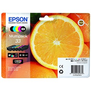 Image of Epson T33 Inkjet Cartridge Capacity 24.4ml B/C/M/Y/PB Ref T33374010 [Pack 5]