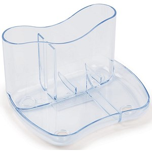 Image of Contemporary Desk Tidy with 4 Compartments - Clear