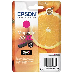 Image of Epson T33XL Inkjet Cartridge Capacity 8.9ml Magenta Ref C13T33634010