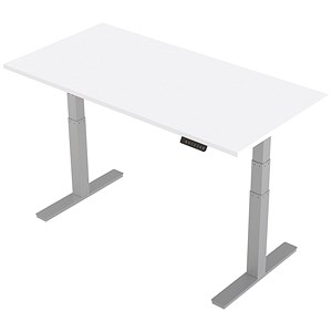 Image of Trexus Height-adjustable Desk / Silver Legs / 1600mm / White