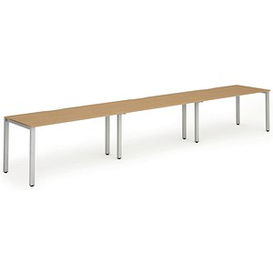Image of Trexus 3 Person Bench Desk / 3 x 1400mm (800mm Deep) / Silver Frame / Oak