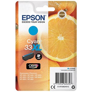 Image of Epson T33XL Inkjet Cartridge Capacity 8.9ml Cyan Ref C13T33624010