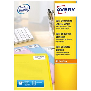Image of Avery Laser Mini Labels / 84 per Sheet / 46x11.1mm / White / L7656-100 / 8400 Labels