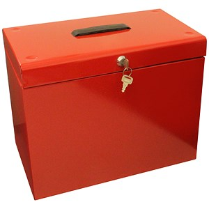 Image of File Box with 5 Suspension Files and 2 Keys Steel A4 Red