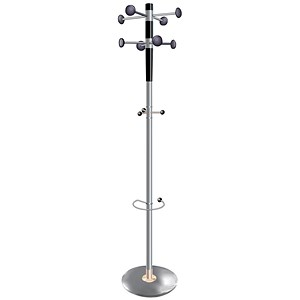 Image of Decorative Coat Stand / Solid Head / Steel Post/ Umbrella Stand / Double Pegs / Grey