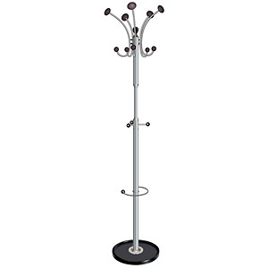 Image of Revolving Coat Stand / Revolving Head / 8 Pegs / 5 Hooks / Black Chrome