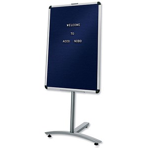 Image of Nobo Welcome Foyer Board on Stand with Characters / Aluminium Frame / W600xH900mm / Blue