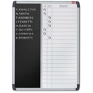 Image of Nobo Welcome In/Out Board / 20-Name / W460xH960mm / Black