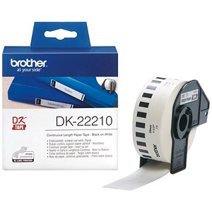 Image of Brother DK22210 Paper Label Roll Tape 29mm Wide Black on White Ref DK22210-1