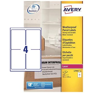 Image of Avery Weatherproof Laser Shipping Labels / 4 per Sheet / 99.1x139mm / L7994-25 / 100 Labels