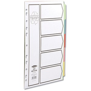 Image of Concord Recycled Dividers Card with Coloured Tabs / 5-Part / A4 / White