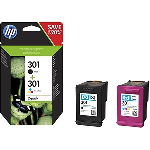 Image of Hewlett Packard [HP] No. 301 Ink Cartridges Page Life Black 190pp Cyan 165pp Ref N9J72AE [Pack 2]