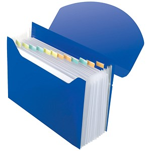 Image of Rexel Optima Expanding Organiser File / Polypropylene / 13-Part / Capacity: 500 Sheets / A4 / Blue