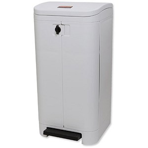 Image of Rubbermaid Step-on Waste Bin / Front Opening / 100 Litre / White