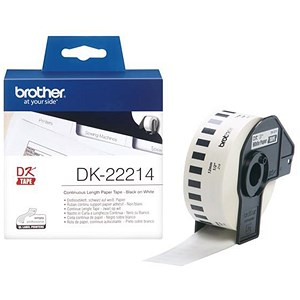 Image of Brother DK22214 Paper Label Roll Tape 12mm Wide Black on White Ref DK22214-1