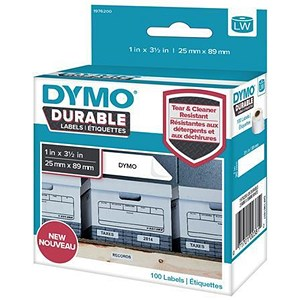 Image of Dymo Durable Labels Self-Adhesive 25mmx89mm White Ref 1976200 [Pack 100]