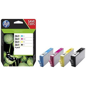 Image of Hewlett Packard [HP] No. 364XL Ink Cartridges Page Life Black 550pp CMY 750pp Colour Ref N9J74AE [Pack 4]