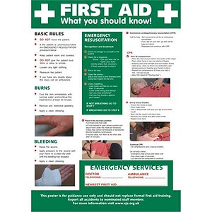 Image of Stewart Superior First Aid Laminated Guidance Poster W420xH595mm Ref HS101