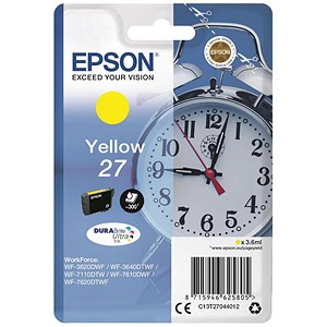 Image of Epson Alarm Clock 27 Inkjet Cartridges Page Life 350pp Capacity 3.6ml Yellow Ref C13T27044012
