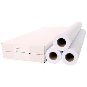 Image of White Plotting Paper Roll / 914mm x 50m / 90gsm / Pack of 3