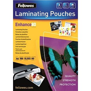 Image of Fellowes A4 Laminating Pouches / Thin / 160 Micron / Glossy / Pack of 100