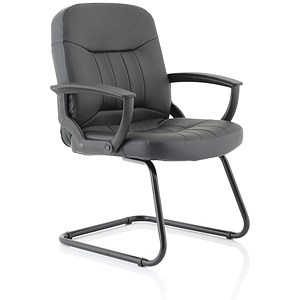 Image of Trexus County Leather Visitor Chair - Black