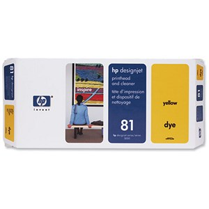 Image of HP 81 Yellow Dye Printhead and Printhead Cleaner