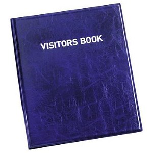 Image of Durable Leather Look Visitors Book - 100 Badge Inserts
