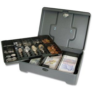 Image of Cash Manager Security Box 8 Compartments and Coin Counter Tray Mercury