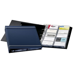 Image of Durable Visifix Business Card Album / A4 / 4 Ring / A-Z Index / Capacity: 400 Cards / Dark Blue