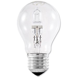 Image of GE Light Bulb Energy Saving GLS Halogen Screw Fitting 77W Clear Ref 79423