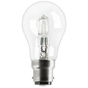 Image of GE Light Bulb Energy Saving GLS Halogen Bayonet Fitting 77W Clear Ref 62576
