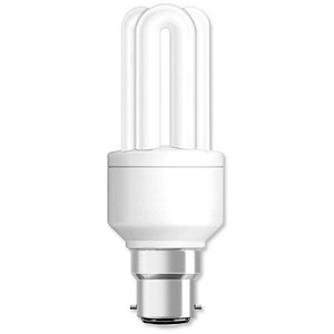 Image of GE Light Bulb Energy Saving Compact Fluorescent Bayonet Fitting 8W Ref 71100