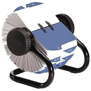 Image of Rolodex Classic 500 Rotary File Metal Open with 500 57x102mm Cards - Black