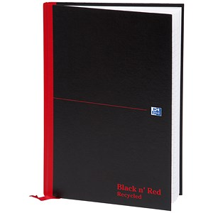 Image of Black n' Red Recycled Casebound Notebook / A4 / 192 Pages / Pack of 5