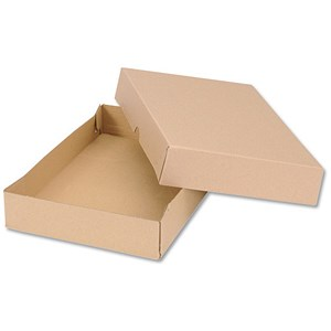 Image of Self Locking Box Carton and Lid / A4 / 305x215x50mm / Brown / Pack of 10